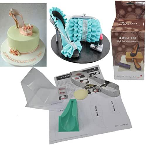 TANGCHU 3D Cake Decorating Molds Supplies Chocolate Fondant Candy Mold High-heeled Shoes Kit Set