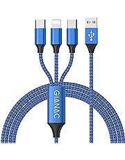 Multi USB Kabel,GIANAC Universal Ladekabel [1.2M] Schnell Ladekabel 3 in 1 Mehrfach Ladekabel iP Micro USB Typ C Lightning für iPhone, Android Galaxy, Huawei, Oneplus, Sony, LG, Honor View-Blue