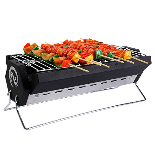 WolfWise Portable Foldable Charcoal BBQ Grill Stainless Steel with Carry Bag 15.7 X 7.9 X 5.9 inch