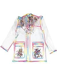 Girls Rainbow Rain Jackets with Hood Transparent Rain Coats