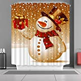 "VANCAR Waterproof Bathroom Decor Custom Xmas Merry Christmas Shower Curtain Sets with Hooks 66""X72"" Cute Winter Snowman Gift Presents Pattern Print"