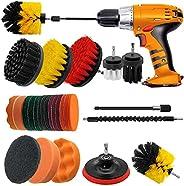 Juego de 23 cepillos de taladro para limpieza – Kit de esponja con accesorio extensible para baño, alfombra, c