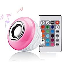 LED Light Bulb Wireless Bluetooth Speaker, 12W E27 RGBW Stereo Music Playing Light Lamp With 24 Keys remote Control