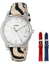 Timex Womens UG0103TB Zebra Patterned Leather Strap Watch Set