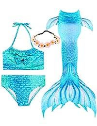 Garlagy 3 Pcs Girls Swimsuit Mermaid Tails for Swimming Bikini Bathing Suit Set