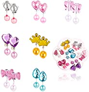 Auxsoul Clip On Earrings, 7 Pairs Pendant Earring Stud Earring Set for Kids Clip-on Jewelry Set No Holes Girl