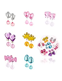 Auxsoul Clip On Earrings, 7 Pairs Pendant Earring Stud Earring Set for Kids Clip-on Jewelry Set No Holes Girl Party Favor Birthday Gift