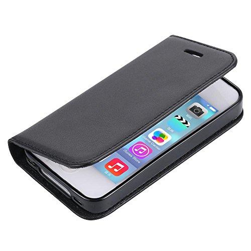 ECENCE Apple iPhone 4 4S SCHUTZ HÜLLE Schwarz + PANZERGLASFOLIE HANDY TASCHE COVER CASE WALLET BRIEFTASCHE KLAPP HÜLLE BOOK-STYLE MIT STANDFUNKTION STANDFUSS 22050007