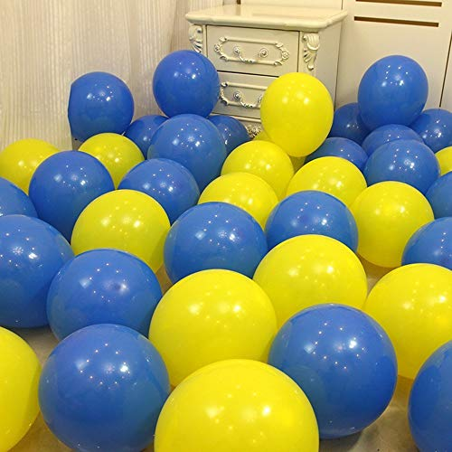 Sogorge 60PCS 10-Inch Round Royal Blue Yellow Balloon, Graduation Party, School Party, Minion Party, Wedding, Kids Birthday Supply,]()