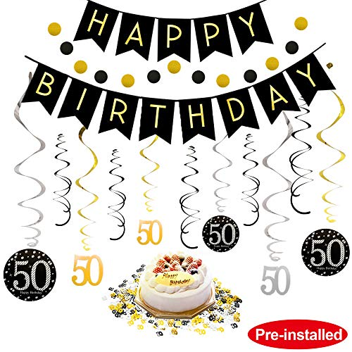 50th Birthday Decorations Kit for Men & Women 50 Years Old Party, NO Assembly Required - Black Gold Happy Birthday Banner, Hanging Swirls, Circle Dots Hanging Decoration, Number 50 Table Confetti -