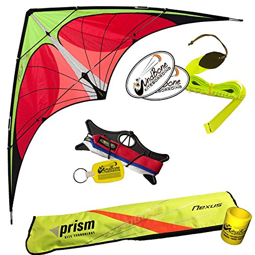 Prism Nexus Dual Line Delta Framed Stunt Kite with 40' Tail Bundle (3 Items) + Prism 40ft Ripstop Streamer Tail Yellow + WindBone Kiteboarding Lifestyle Stickers + Key Fob (Yellow)