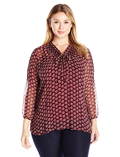 Lucky Brand Women's Plus Size Tie Front Blouse, Red/Multi, 2X