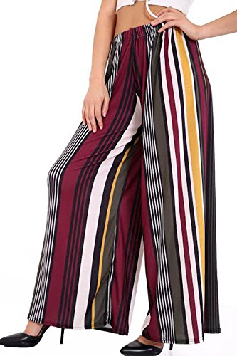 Mujer Palazzo Liso De Mecánico Wide Leg Pants Leggings pantalones estampado Plus tamaño Reino Unido 8–�?6(S, M, L, XXL, XXXL Multi Colour Strips