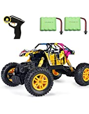MaxTronic 1:18 Remote Control Car 15km/h High Speed Buggy Rock Crawler Racing Monster Truck 2.4GHz 4WD Off-Road Vehicle Car with 2 Rechargable Battery -Best Gift for Kids and Adult (Graffiti Yellow)