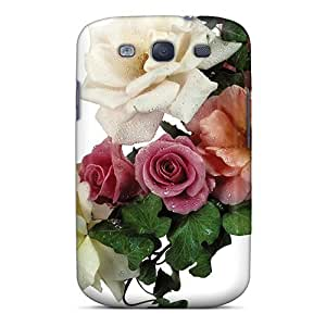 Bernardrmop Case Cover For Galaxy S3 - Retailer Packaging Rose Arrangement With Dew Drops Protective Case