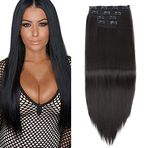 230g Super Thick Clip In Hair Extensions, Elegant Straight Full Head Black Hair Extensions With Clips, Long Thick Hairpiece 4 Pieces Set Wigs For Black Women (Black - Straight)