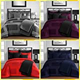 King & Queen Home Modern Frame Microfiber Lacquer 5 Piece Comforter Set