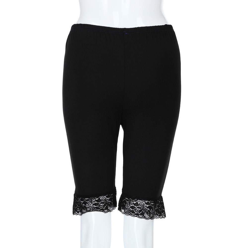 ZIYOU Frauen Shorts Kurze Hose Skinny fit Hosen Damen /Übergro/ß Spitzehose Elastische Sport Hosen mit Mittlere Taillen Stretch Workout Fitness Leggings