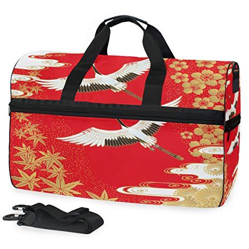 SLHFPX Gym Bag Red Japanese Crane Cherry Maple Sport Duffle Holdall Bag Training Handbag Yoga bag for Men Women ()