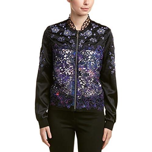 Elie Tahari Womens Silk-Trim Jacket, S, Black for cheap