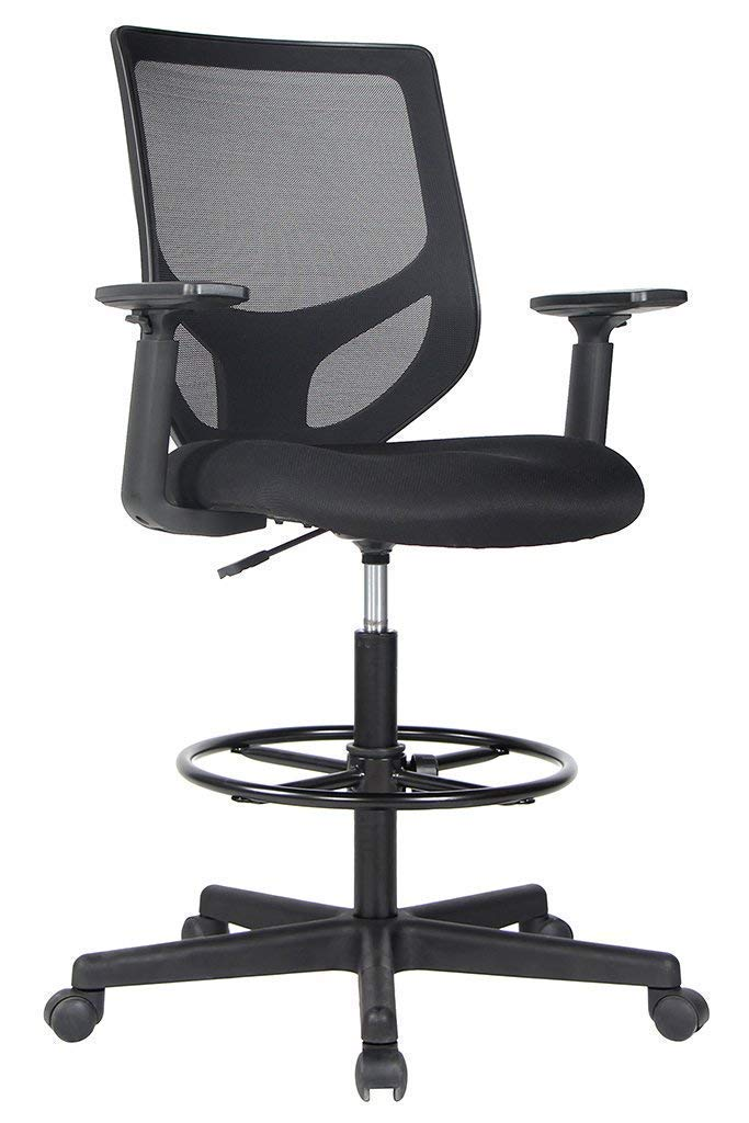 Drafting Chair Tall Office Chair for Standing Desk Drafting Mesh Table Chair with Adjustable Armrest and Foot Ring by Smugdesk