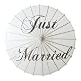 Aspire White Wedding Paper Parasol Umbrella Wedding Party Decoration Bridal Showers Photo Shoots - Just Married,60 PCS