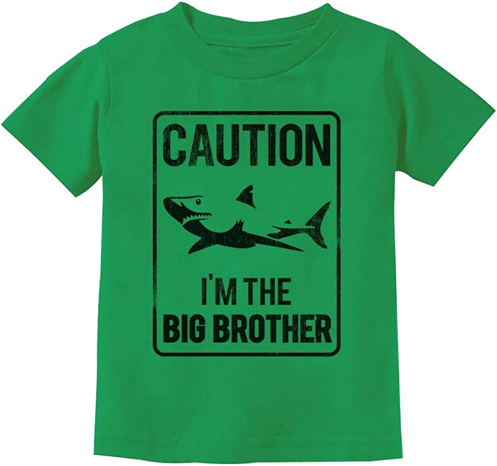 Shark Sign Caution Im The Big Brother Gift Toddler Kids T-Shirt Tstars