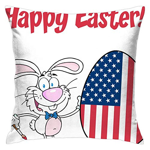 - Feddiy White-Happy-Easter-Bunny-Painting-Egg Decor Easter Sign Decoration We Believe in The Easter Bunny Home Decorative Throw Pillow Case Cushion Cover with Words for Sofa Couch, 16 x 16