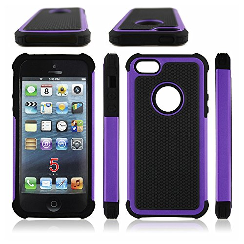AGRIGLE AB669654 Shock- Absorption/High Impact Resistant Hybrid Dual Layer Armor Defender Full Body Protective Cover Case Compatible with iPhone 5/5S/SE (Purple)