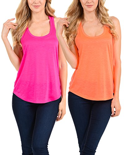 Racerback Neon Sports Workout Tank Tops for Women and Juniors 2PK Pink Coral S