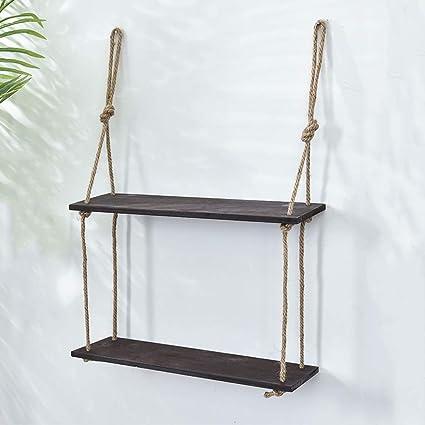 Peachy Amazon Com Wall Mounted Wood Shelf Rope Swing Floating Home Remodeling Inspirations Genioncuboardxyz