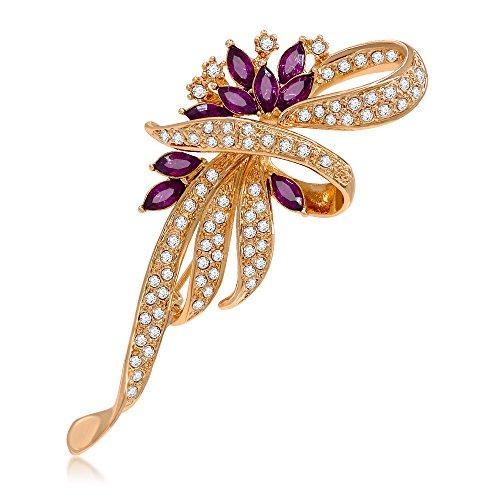 Kemstone Amethyst Crystal Flower Brooch Pin Gold Plated Women's Jewelry (3069281202)
