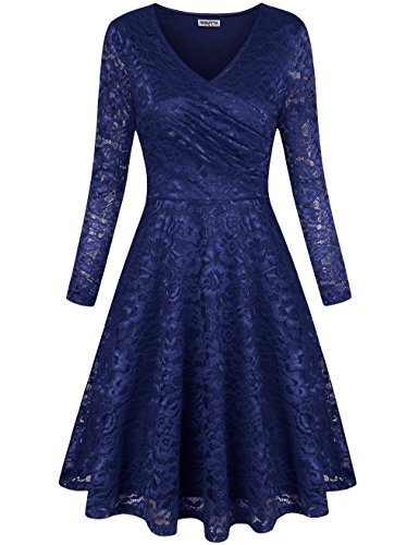 HNNATTA Wrap Dress, Office Ladies Semi Formal Sexy Sheer Lace Floral Rose Full Sleeve Bridesmaid Dresses Blue S (Floral Dress Rose)
