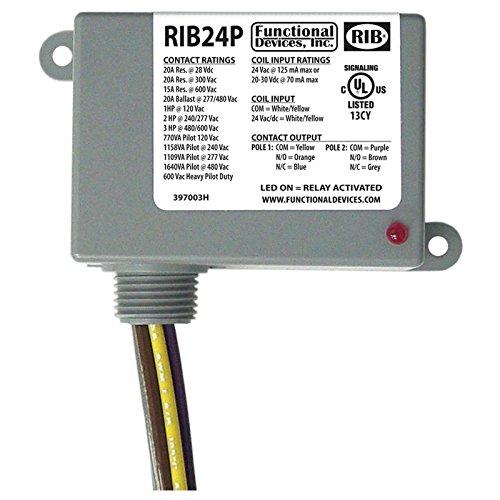 Pilot Duty Relay - Functional Devices (RIB) RIB24P Enclosed Relay 20Amp DPDT 24Vac/dc