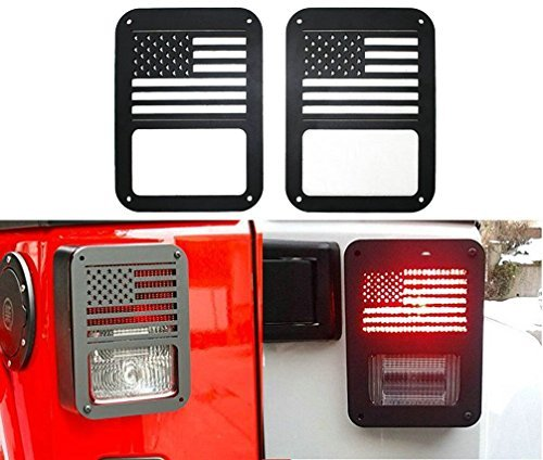 Sunluway 2 X Tail lamp Tail light Cover Trim Guards Protector for Jeep Wrangler Sport X Sahara Unlimited Rubicon 2007-2015 (USA Flag)