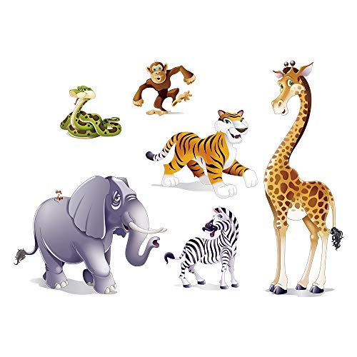 decalmile Jungle Animals Wall Decals Giraffe Monkey Elephant Wall Stickers Kids Room Wall Decor for Boys and Girls Bedroom Nursery Baby Room