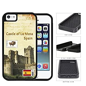 Castle Of La Mota Spain Postcard 2-Piece Dual Layer High Impact Hard Silicone Cell Phone Case Case For HTC One M7 Cover