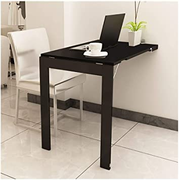 Amazon Com Kxbymxsimple Folding Table Wall Mounted Deciduous Table Foldable Kitchen And Dining Table Breakfast Shrinking Table Color Black Size 7445cm Office Products
