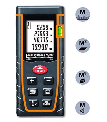 Arama Digital Laser Distance Meter 80m Measure tool Range Finder with Large Backlit LCD 4 Line Display, Bubble