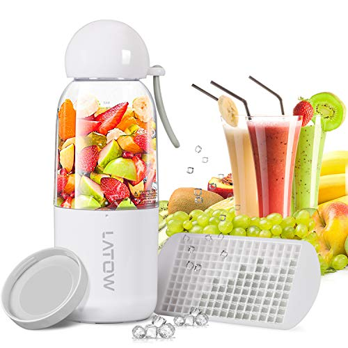 Smoothie Blender, LATOW Portable Juicer Blender with Travel Lid Ice Tray, Household USB Rechargeable Cup Blender for Single Serve Shakes (FDA and BPA Free) ()
