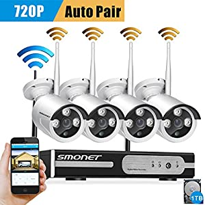 Smonet 4CH 720P HD NVR Wireless Security CCTV Surveillance Systems(WIFI NVR Kits)-Four 1.0MP Wireless WIFI Indoor Outdoor IP Cameras,P2P,65FT Night...