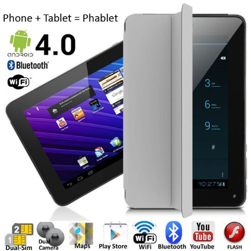 7'' Android 4.4 Phablet Tablet PC + GSM 3G Smartphone Dual-Sim WiFi Bluetooth Smart Cover by inDigi