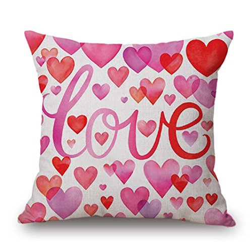 Soft Pillowcase,Valentine's Day Throw Pillow Covers Sweet Love Square Cushion Cover Home Decor (B)