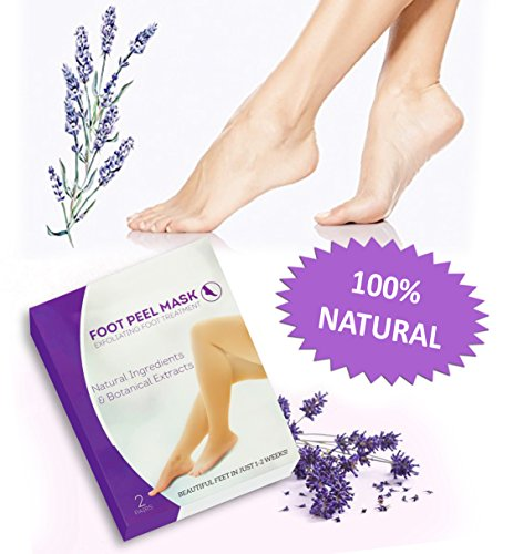 MGS Exfoliating Dead Skin Foot Peel - Moisturizing Callus and Cracked Feet Remover Easy Work At Home Pedicure Solution for Soft Touch Feet Peel Booties, Lavender Scent (2 Pairs) by MGS