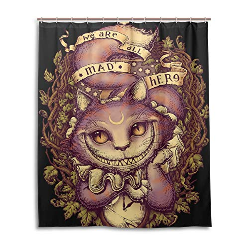 NewSmarter Cheshire Cat Halloween Decorations Shower Curtains Set,Mildew Proof and Waterproof Washable Printed Polyester Fabric Shower Curtain for Bathroom,60 x 72 Inch
