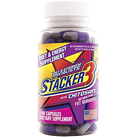 Stacker 3 Metabolizing Fat Burner with Chitosan, Capsules, 100-Count Bottle (Calorie Burner)