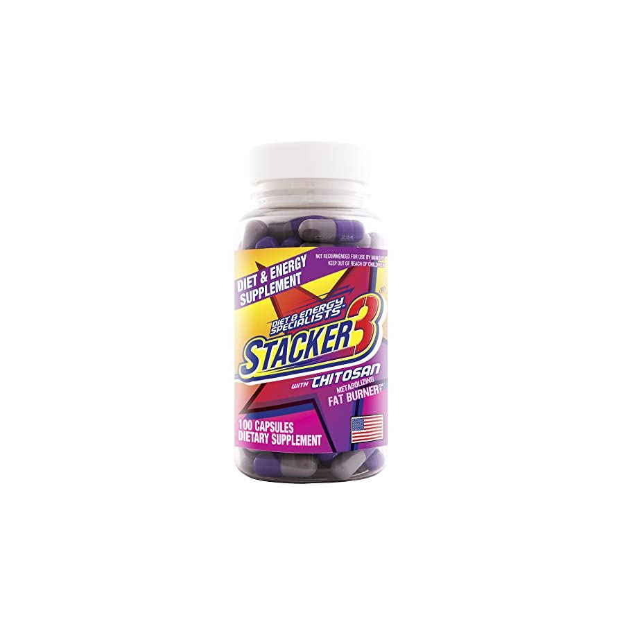 Stacker 3 Metabolizing Fat Burner with Chitosan, Capsules, 100 Count Bottle