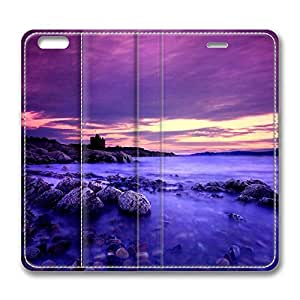 iPhone 6 Plus Case, Fashion Protective PU Leather Flip Case [Stand Feature] Cover Violet Clouds And Blue Water for New Apple iPhone 6(5.5 inch) Plus
