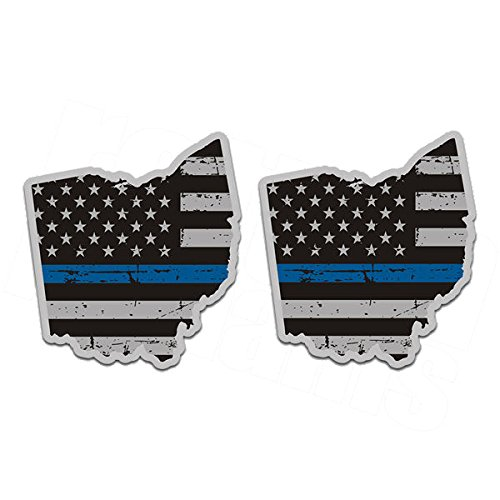 Ohio Thin Blue Line Decal SET OH Subdued American Flag (Ohio Decal Set)