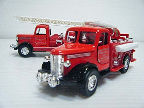 Antique Toys Fire Engine - First Arrow (FIRST ARROW) ■ Classic fire engine two set ■ ladder trucks, pump trucks ■ Silver/toys/boy/minicar/business vehicle/antique/gift